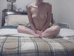 Pretty blonde masturbates with dildo