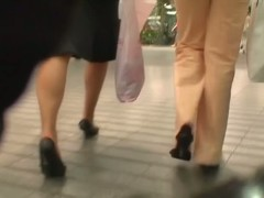 Blonde milf gets the role in the street candid video