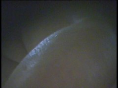 Fem gets her pussy slit and tits shot from below by spy cam
