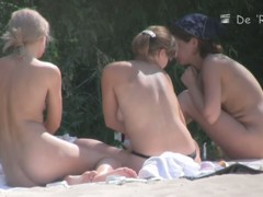 Voyeur on nudist beach captures three hot, naked cicks