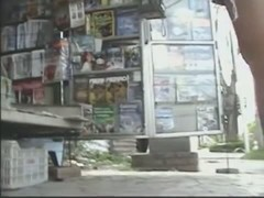 Newspaper stand upskirt video of a hot brunette