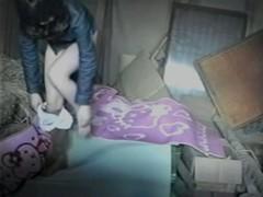 Hidden voyeur cam shoots slim girl masturbation on haystack