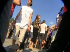 Blonde teen in red lingerie upskirt voyeur video