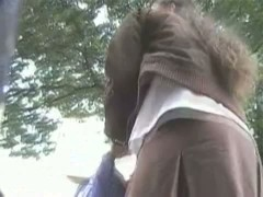 Quick peek under schoolgirls skirts in this street candid video