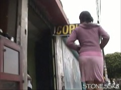 Hot girl in pink skirt with pink thong in sweet upskirt video