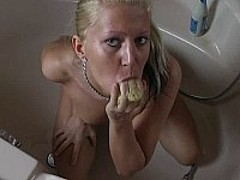 Bath time fun with sexy blond