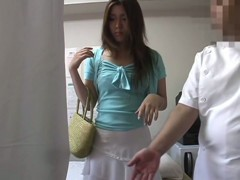 Japanese massage porn video starring a fresh girl wearing white lingerie