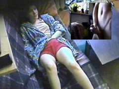 Double masturbation to a hidden masturbation spy cam