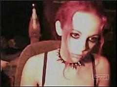 Gothic slut masturbating