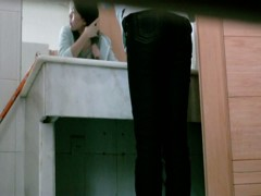 Gorgeous Asian cutie caught on toilet by a spy cam