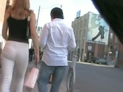 Street candid hot red head in tight pants and n ass out of this world