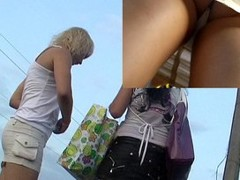 Upskirt fascinating white panty