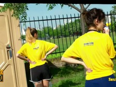 Hot sports chicks on a street candid vid