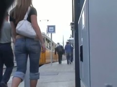 Sexy slut in tight jeans loves some street candid clothes
