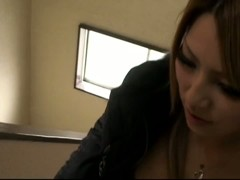 Hot Japanese slut downblouse grey pulloever round nipples big tits