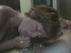 Sexy wife gets facialized by her man