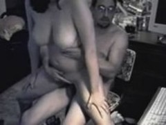 Four eyed guy humps chick