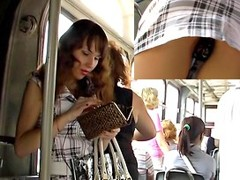 Brunette Hair babe in bus upskirt video