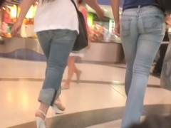 Candid butt video shows two delicious bums at the department store.