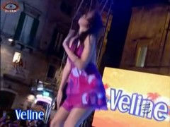 Italian wannabe pop star makes up skirt magic on TV