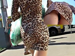 Hawt pussycat flashes her panty up petticoat