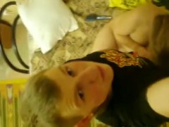 Plump Russian blondie takes it in homemade video