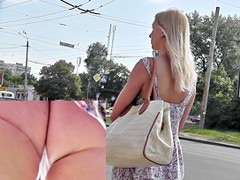 Sassy golden-haired in outdoor upskirt vid