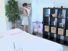 Lovely Jap babe banged hard in spy cam massage room video