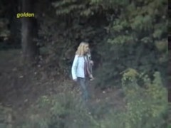 Naughty girls went to the bushes for outdoor pissing