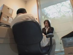 Cute Jap screwed in voyeur Japanese sex video in the office