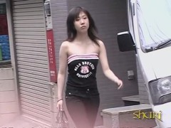 Brunette Asian got top sharked while walking down the street