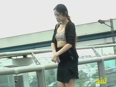 Asian with small tits top sharked on the public escalators