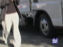 Slim Asian babe in saggy pants gets street sharked.