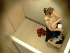 Blonde and brunette naked boobs in the changing room