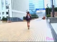 Public sharking of a Japanese gal in a short skirt