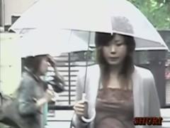 Japanese boob sharking of a hot chick in a narrow street