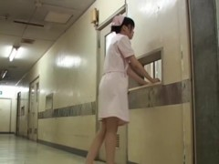 Bent over nurse gets on Japanese panty sharking scenes