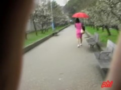 Lady with an umbrella was skirt sharked in her favorite park