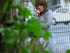 Boob sharking with an attractive Japanese woman in public