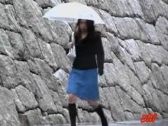 Rain sharking meeting with long-legged skinny tramp being caught of her guard