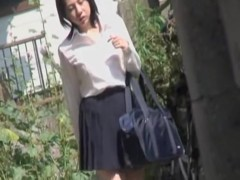 Hot sexy Asian girl got boob sharked when taking a shortcut