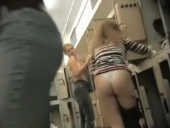 Spy cam in the locker room shoots hot waving booty