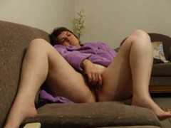 Joanne rubs vagina on daybed
