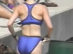 Blue bikini panty on the hot ass of the blonde milf 06zn
