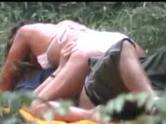 Horny couple caught making out in a voyeur sex video