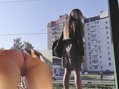 Legal Age Teenager in high heels wears tan pantyhose upskirt