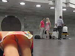 Upskirt video presents blonde chick in sexy short dress