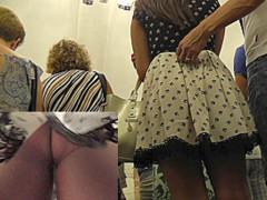 Babe in polka-dot skirt walks with guy in upskirt clip