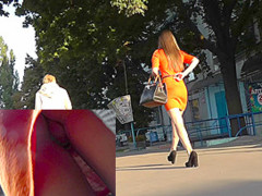 She doesn't know that upskirt camera is filming her