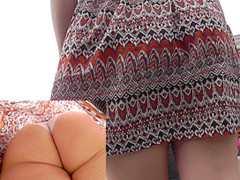 Charming young buttocks in the real upskirt video